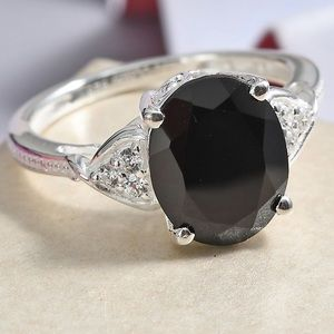 Thai Black Spinel Sterling Silver Ring Size 9